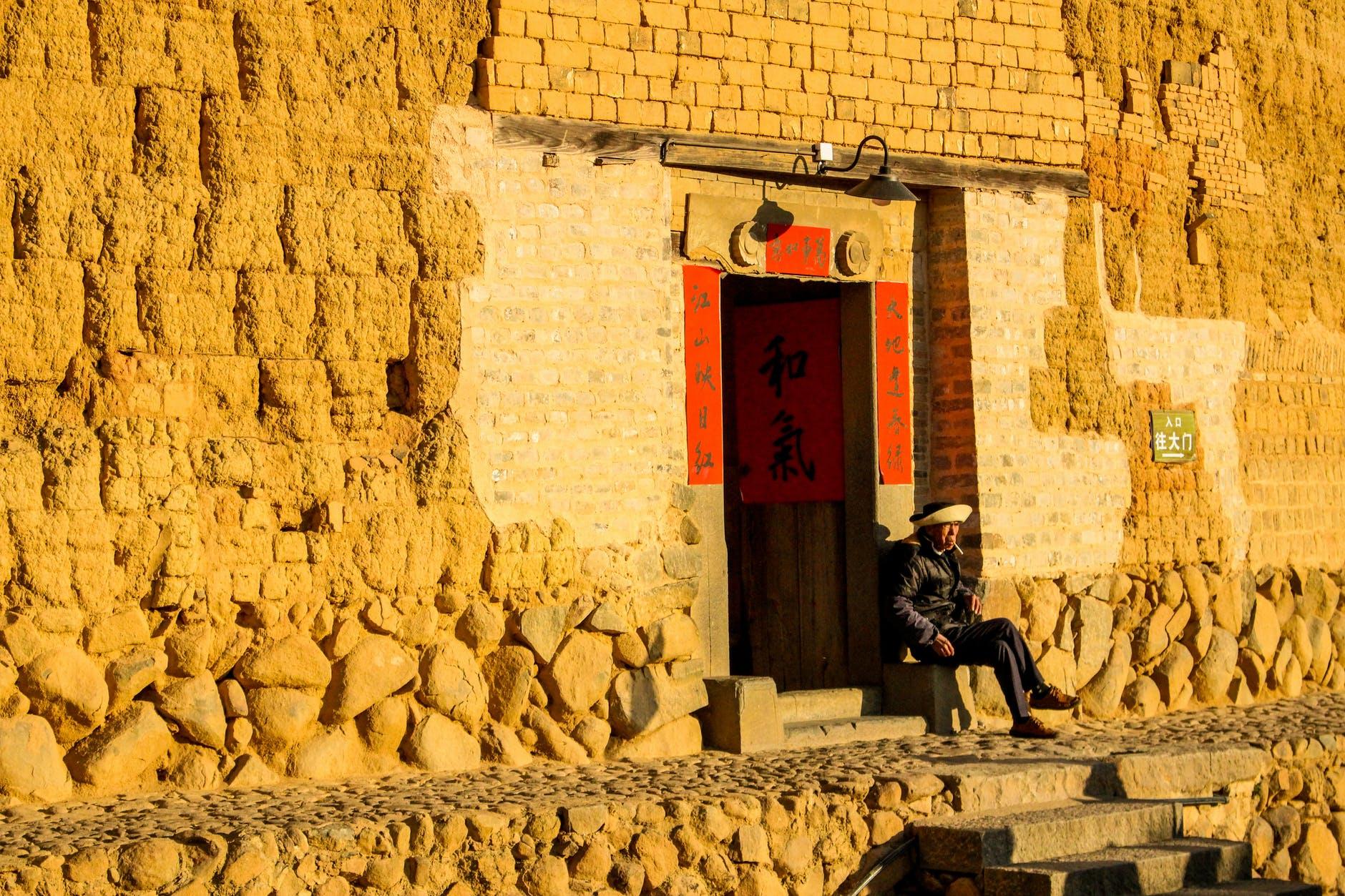 man people street building