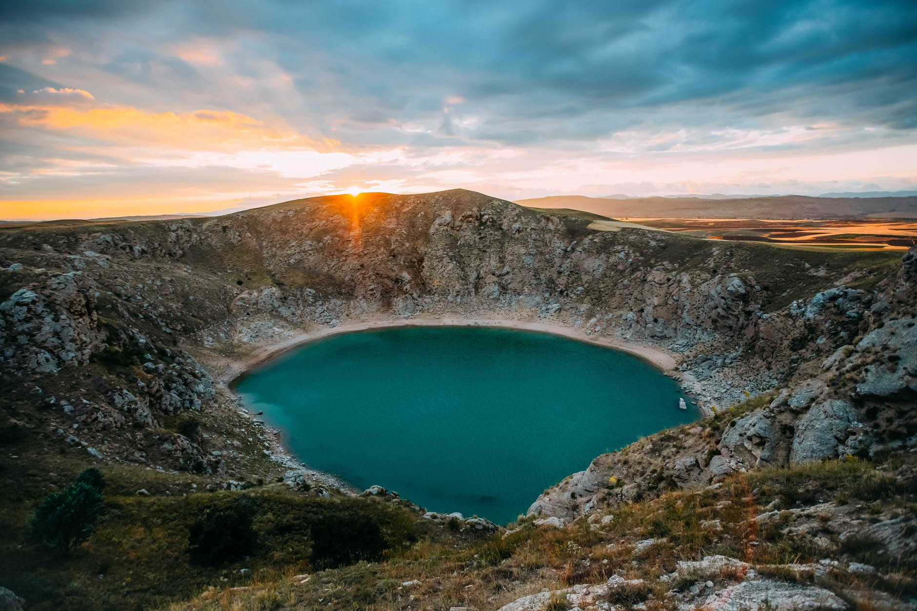 aerial photo of crater lake